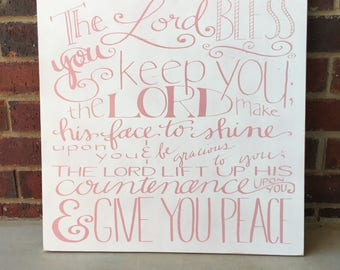 Numbers 6:24- Wood Sign- Christian Decor- Blessing Sign- The Lord Bless You- Hand Lettered- Christian Sign- Scripture Sign- Bible Verse- Art