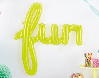 "Lime Green ""fun"" Balloon Banner 