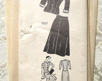 Vintage 40s Tailored Jacket and Skirt.  Mail Order Sewing Pattern 9527 Size 13  Bust 31""