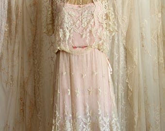 Antique Edwardian Dress / Sheer Net Lace Dress / Silk / Pink / Bridesmaid Dress / size Medium
