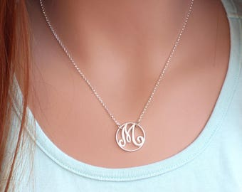Monogram Necklace - unique letter suspended on a beautiful diamond cut sterling silver chain, M Necklace, Silver Necklace, Letter Necklace