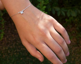 Dainty Letter Bracelet, Custom Letter bracelet, Personalized Initial bracelet, Dainty Bracelet, Charm Bracelet