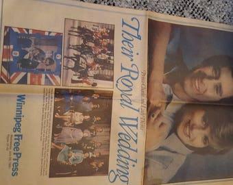 Ephemera   Their Royal wedding    Winnipeg Free Press July 29 1981