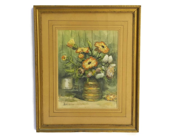 Orange Flowers in Vase Still Life Painting.