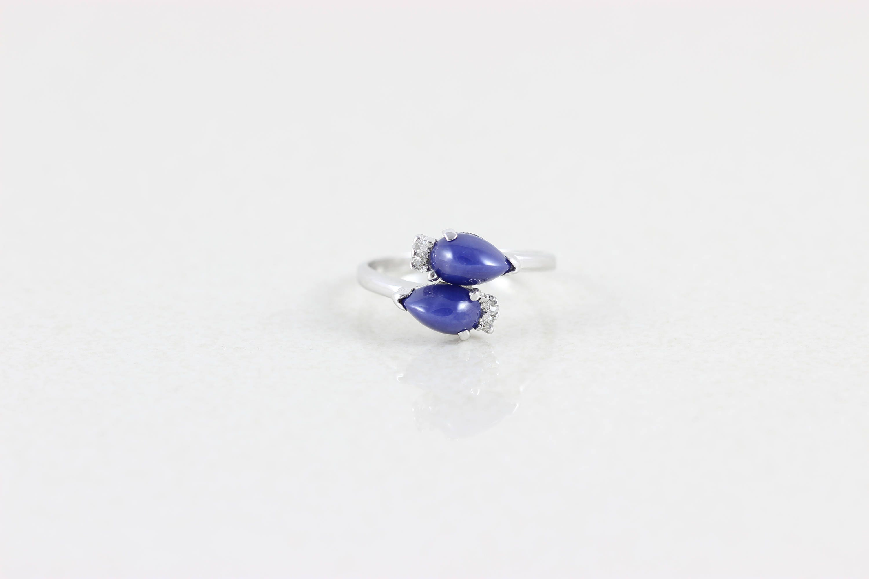 sapphire blue star etsy gold white ring vintage cut round pin