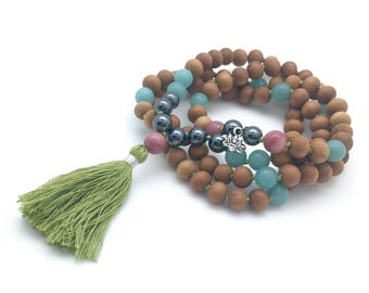 Confidence Mala, with hematite, rhodonite, amazonite, sandalwood, hand-made, 108 bead mala