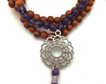 Amethyst 7th Chakra Pendant Mala, 108 bead mala