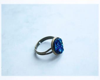 Druzy Ring, Bronze Ring, Silver Ring, Statement Rings, Mermaid Jewelry, Adjustable Ring, Cabochon Ring, Mermaid Gifts, Mermaid Ring, Gifts