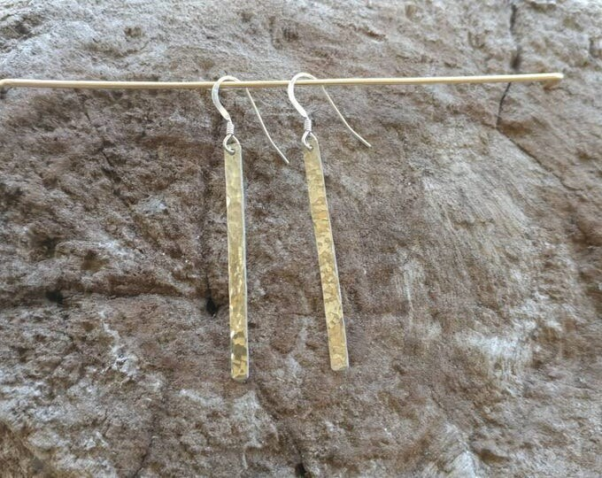 "Long Hammered Bar Earrings, Silver Bar Earrings, Simple Earrings, Dangle Earrings, Sterling Silver, Long Earrings 1.5"""