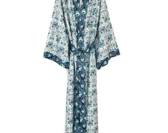 Cotton kimono robe, full length kimono, kimono robe, bridesmaid robe, floral robe, cotton kimono, floral cotton robe, gift for her