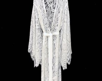 Lace kimono, brides lace robe, bridal lace robe, lace cover up, getting ready robe, boho kimono, bridal lace kimono, beach kimono