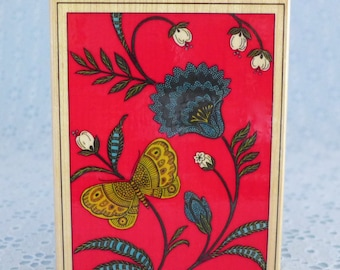 Butterfly Chintz Stamp, by All Night Media, Wood Mounted Rubber Stamp, Flower Stamp, Paper Stamping, Card Making