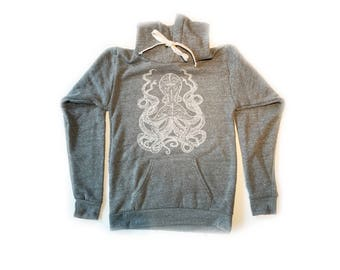 Octopus Hoodie Sweatshirt-Soft and cozy-Royal Apparel Tri blend-Unisex Sizing-Mens Womens-Cephalopod sea creature