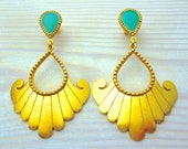 Statement Jewelry, Turquoise Earrings Gold, Ethnic Earrings, Turquoise Big Earrings, Mothers Day Jewelry, Ancient Greek Earrings, Mother