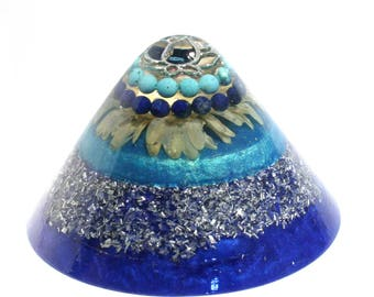 Lapis Lazuli and Turquoise Orgone Cone - Energy Healing Spiritual Gift and Feng Shui Decor - Balance and EMF Protection