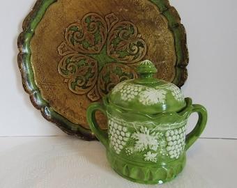Vintage Green And White Ceramic Canister Jar Grape Leaf Pattern Tea Sugar Flour Kitchen Storage Decor