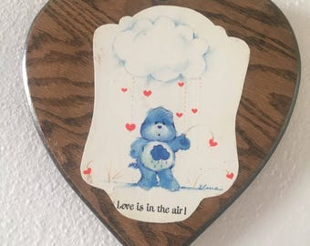 vintage 80's CARE BEARS HEART shaped wood wall hanging