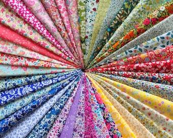 """40 LIBERTY of London Fabric Tana Lawn 5"""" x 5"""" Patchwork pieces, scraps 'Liberty Rainbow',Liberty Fabric Bundles"""