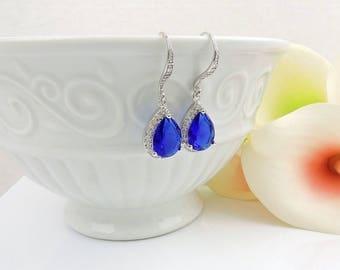 FREE US Ship Cobalt Cubic Zirconia Teardrop Bridal Earrings Something Blue Bridal Earrings Dark Blue Bridesmaid Earrings Bridesmaid Gift