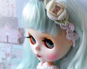 Blythe doll Crochet linen HAIRBAND. Shabby Chic headband