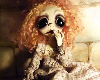 OOAK Gothic Art Doll - Halloween Art Doll - Halloween Decor - Creepy Cute - Goth doll - Sad Doll - Haunted Doll - Fairy -  Clay Doll