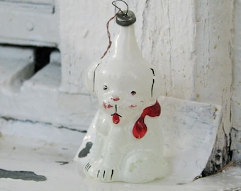 Soviet Christmas tree decoration, White Puppy Christmas Glass Ornament - Made in USSR