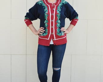 Orvis Holly Berry Christmas Cardigan Sweater, Not so Ugly Christmas Sweater, Vintage Festive Holiday Sweater, Winter Top