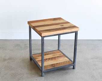 End Table made from Reclaimed Wood / Industrial Frame with Lower Shelf
