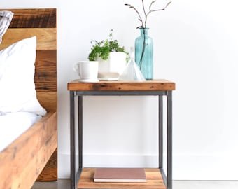 Industrial Nightstand made from Reclaimed Wood / Modern Bedside Table