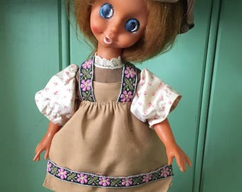 Beautiful 1970s vintage musical doll