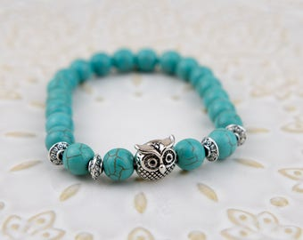 Beautiful Owl Turquoise Bracelet durability and elasticity with 8mm beads