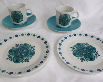 Vintage cups saucers side plates Backstamp  J & G Meakin set of  2 trio's