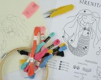 Little Mermaid embroidery KIT
