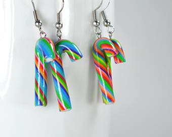 Earrings Cane Christmas candy, candy cane earring, gourmet gem, sweet jewelry, small multicolored Christmas canes