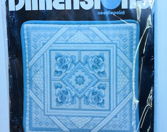 Dimensions Needlepoint Pillow Kit 2398 Blue and White Rose Pillow Vintage 1992 Made in the USA!