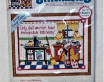 """Dimensions Stitchables """"Only Dull Women"""" counted cross stitch kit 72143 Vintage 1993"""