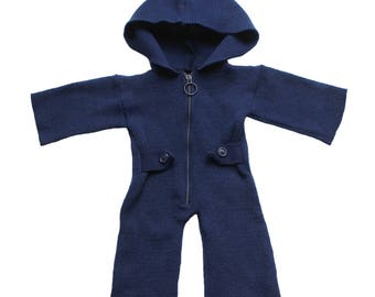 FRENCH VINTAGE 70's / baby jumpsuit / hooded overalls / dark blue acrylic knit / as new / size 3 months