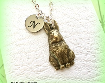 Easter bunny necklace - Initial bunny jewellery - Easter bunny gift - Rabbit charm - Animal jewellery - Rabbit necklace - Easter jewellery