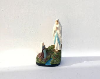 French vintage Plaster Statue Our Lady of Lourdes & Bernadette  Shabby Chic 1940's- signed