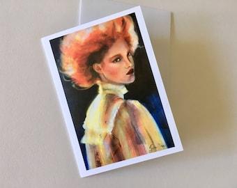 Retro woman portrait stationery card