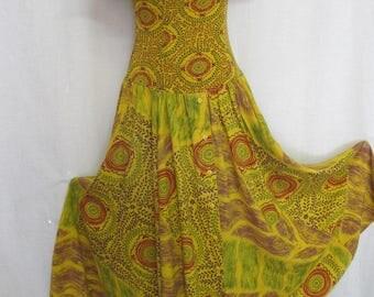 Indian Cotton Dress Hippie Dress Boho Dress Off Shoulder Low Cut Saffron Yellow
