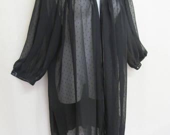 Black Sheer Robe Goth Chiffon Robe Peignoir Oscar de la Renta  Coverup Sheer Negligee LARGE