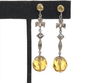 Vintage Art Deco Dangle Earrings 1920s Long Wedding Earrings Yellow Topaz Crystal Rhinestone Drop Earrings Vintage Antique Estate Jewelry