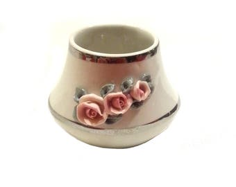 Small porcelain vase Dresden, German porcelain Dresden vase, vintage flower vase, roses small flower
