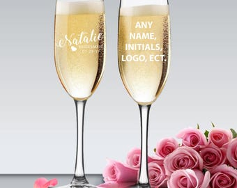Personalized Bridesmaid Champagne Glasses, Champagne Flutes, Bachelorette Champagne Flutes, Personalized Champagne Glass, Toasting Flutes