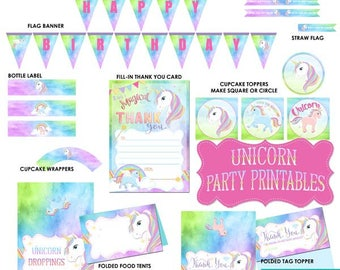 UNICORN Party Printable, Unicorn Printable, Unicorn, Unicorn Party, Unicorn Decor, Digital, Birthday Party, Rainbow, diy, INSTANT DOWNLOAD
