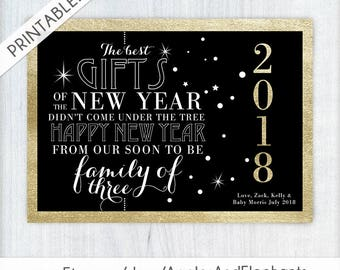 New Year's Eve Pregnancy Announcement - Printable Announcement Card - Glitter and Gold - New Baby