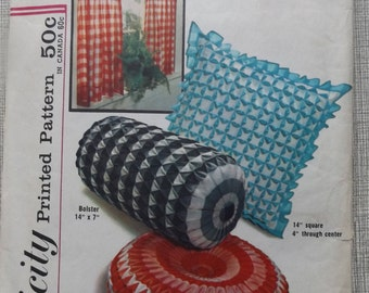 Set of Decorative Pillow Covers Incl. Square, Bolster, and Round Complete Uncut 1960s Vintage Simplicity Sewing Pattern 4679