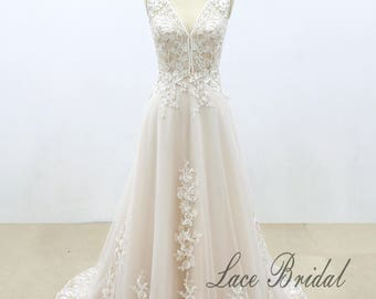 Double Colored Lace Wedding Dress with Nude Blush Lining, A line Wedding Dress with Lace Applique, V-neckline Bridal Gown