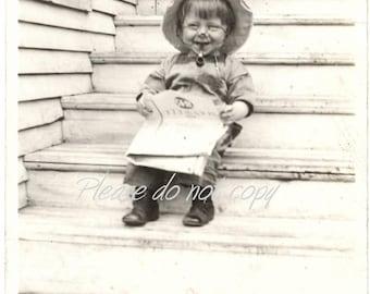 little pipe smoker  ~ Vintage Snapshot Photo